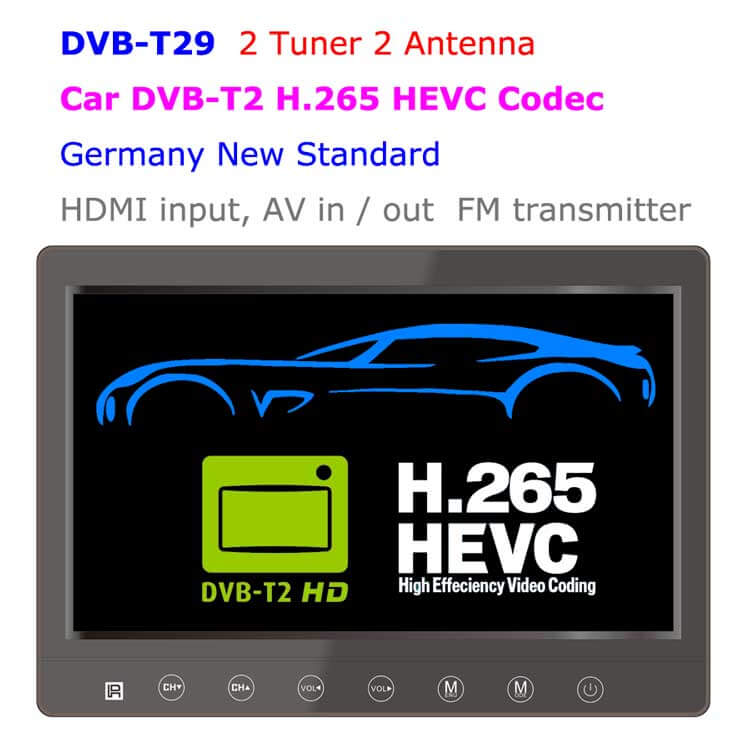 DVB-T29 9 inch portable DVB-T2 LCD TV monitor 2017 HD FTA Freenet H265 HEVCCodec