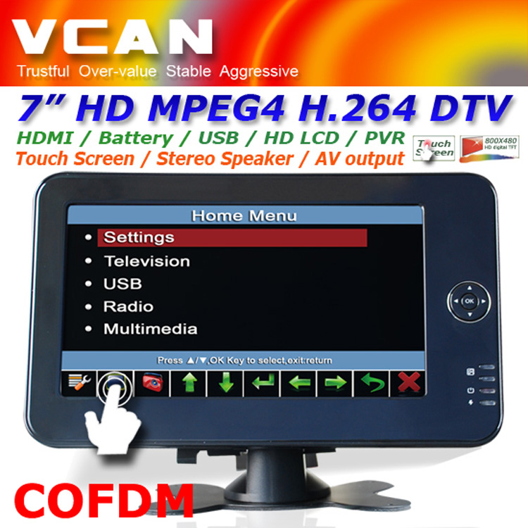 7 inch Portable HD Wireless COFDM Receiver