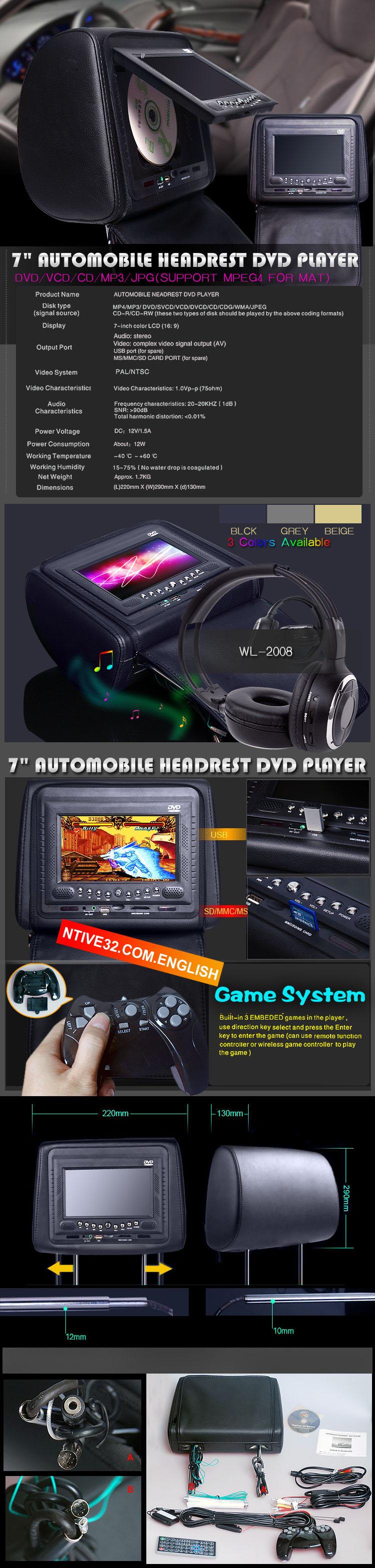 7 inch headrest LCD monitor