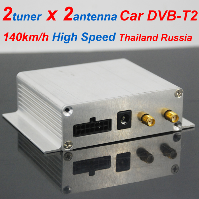 Thailand DVB-T2 Car DVB-T2 two tuner dual antenna twin Digital TV receiver Siano chipset high speed