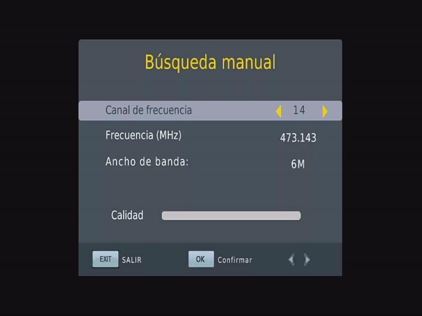 Menú ISDB-T del coche de OSD España Manual de Búsqueda manual
